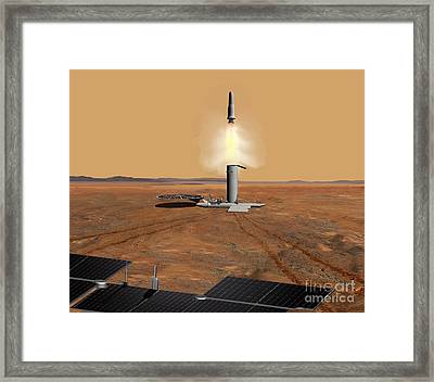 Artists Concept Of An Ascent Vehicle Framed Print by Stocktrek Images