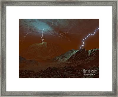 Artists Concept Of Lightning In Venus Framed Print by Walter Myers