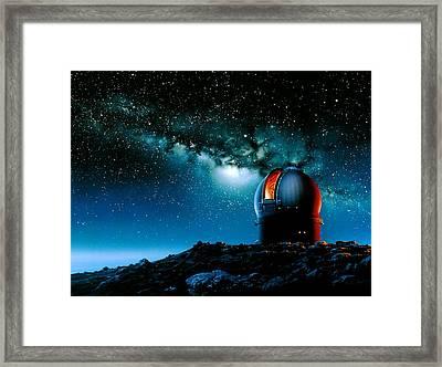 Artwork Based On Mauna Kea Of A Telescope Dome Framed Print by Detlev Van Ravenswaay