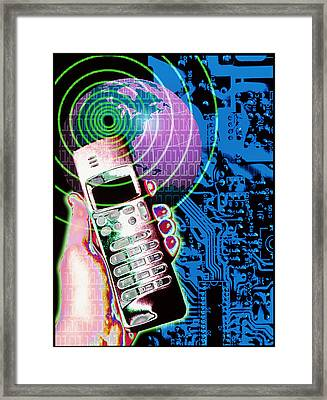 Artwork Of Mobile Telephone, Globe & Circuit Board Framed Print by Victor Habbick Visions