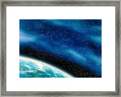 Artwork Of Part Of The Earth Against A Starfield Framed Print by David Ducros