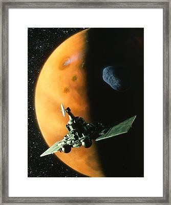 Artwork Of Phobos Spacecraft In Orbit Around Mars Framed Print by Julian Baum