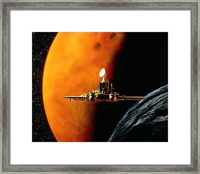 Artwork Of Phobos Spacecraft Nearing Phobos Framed Print by Julian Baum