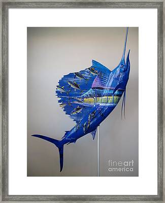 Artwork On Sailfish Framed Print by Carey Chen