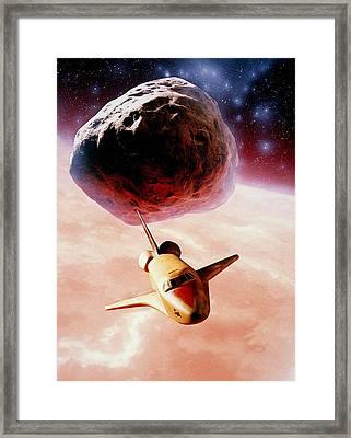 Artwork: Space Shuttle Of Ceres Mining Corporation Framed Print by Julian Baum