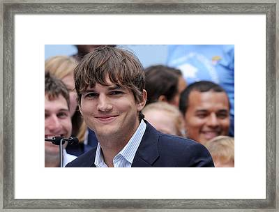Ashton Kutcher At The Press Conference Framed Print by Everett