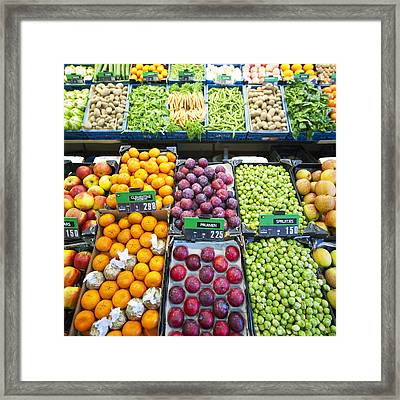 Assorted Fruit And Vegetables Apples Framed Print by Corepics