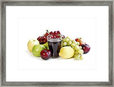 Assorted Fruits On White Framed Print by Elena Elisseeva