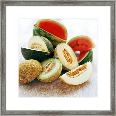 Assortment Of Melons Framed Print by David Munns