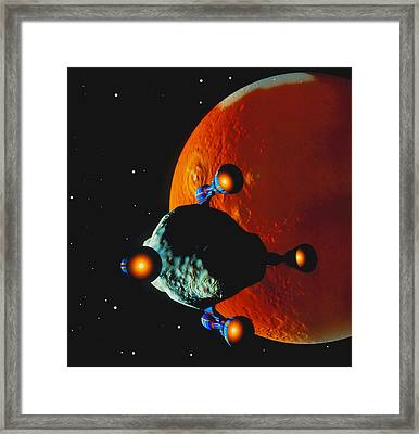 Asteroid Being Moved Past The Planet Mars Framed Print by Julian Baum