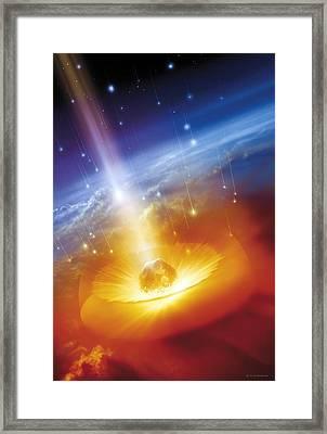 Asteroid Impacting The Earth, Artwork Framed Print by Detlev Van Ravenswaay