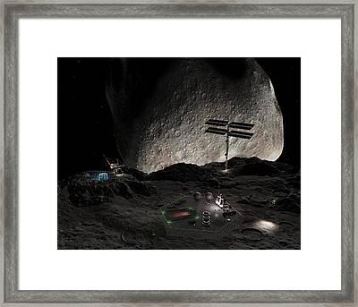 Asteroid Mining Settlement, Artwork Framed Print by Walter Myers