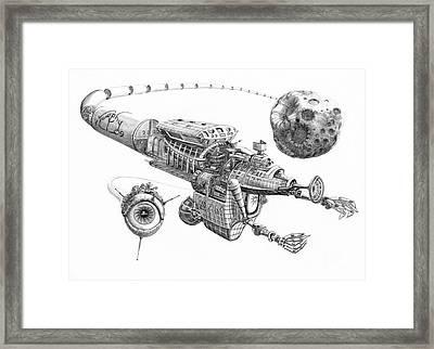 Asteroid Mining Ship Framed Print by Murphy Elliott
