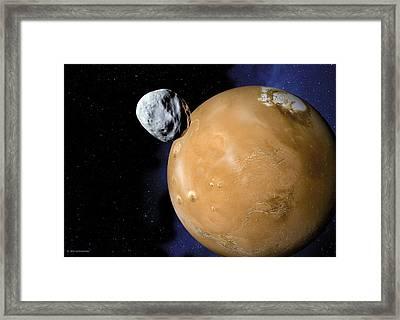 Asteroid Near Mars, Artwork Framed Print by Detlev Van Ravenswaay