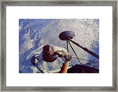 Astronaut Alan B. Shepard Is Hoisted Framed Print by Everett