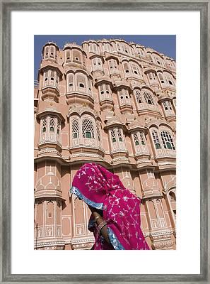 At Hawa Mahal City Palace, Jaipurs Most Framed Print by Axiom Photographic