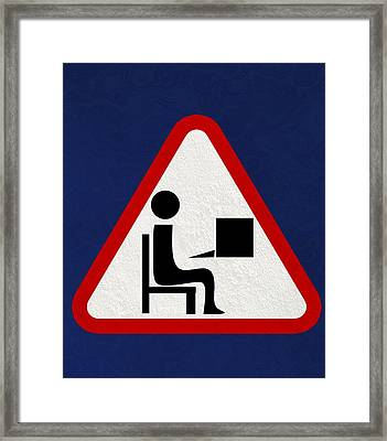 At Work Sign, Artwork Framed Print by Christian Darkin