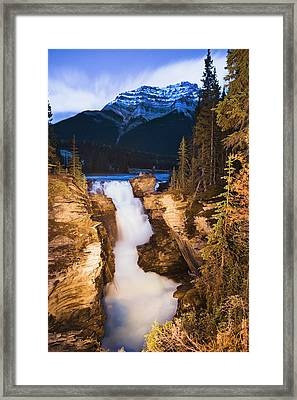 Athabasca Falls And Mount Kerkeslin Framed Print by Yves Marcoux