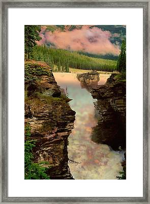 Athabasca Falls Evening Framed Print by Shirley Sirois