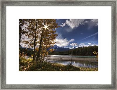 Athabasca River With Mount Fryatt Framed Print by Dan Jurak