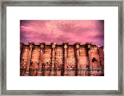Athens - The Library Of Hadrian Framed Print by Hristo Hristov