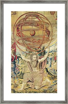 Atlas Supporting The Armillary Sphere Framed Print by Photo Researchers