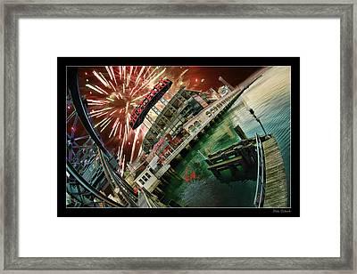 Att Park And Fire Works Framed Print by Blake Richards
