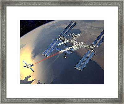 Atv Approaching The Iss, Artwork Framed Print by David Ducros