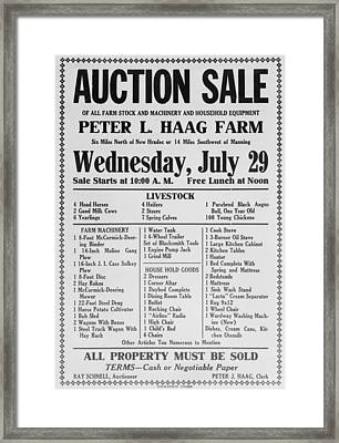 Auction Sale Notice Of The Farm Framed Print by Everett