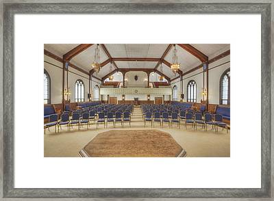 Auditorium With Blue Chairs And A Stage Framed Print by Douglas Orton