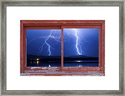 August 5th Lightning Storm Red Picture Window Frame Photo Art Framed Print by James BO  Insogna