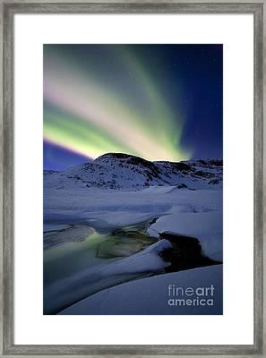 Aurora Borealis Over Mikkelfjellet Framed Print by Arild Heitmann