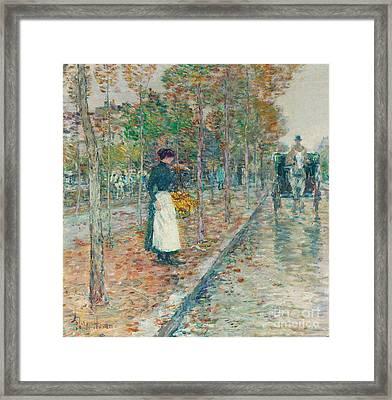 Autumn Boulevard In Paris Framed Print by Childe Hassam