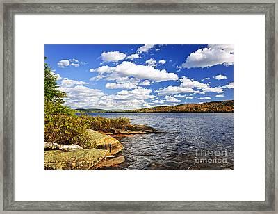 Autumn Lake Shore Framed Print by Elena Elisseeva