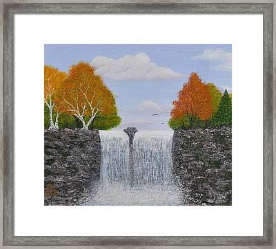 Autumn Waterfall Framed Print by Georgeta  Blanaru