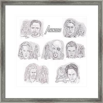 Avengers Team Framed Print by Chris  DelVecchio
