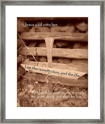 Axe Grave Marker Framed Print by Cindy Wright