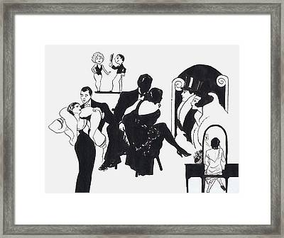 B And W Deco Ads Framed Print by Mel Thompson