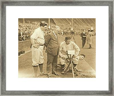 Babe Ruth Studies The Roster Framed Print by Padre Art