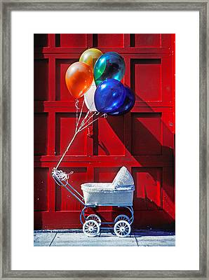Baby Buggy With Balloons  Framed Print by Garry Gay