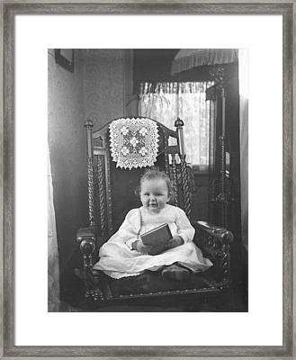 Baby Can Read Framed Print by Jan Faul