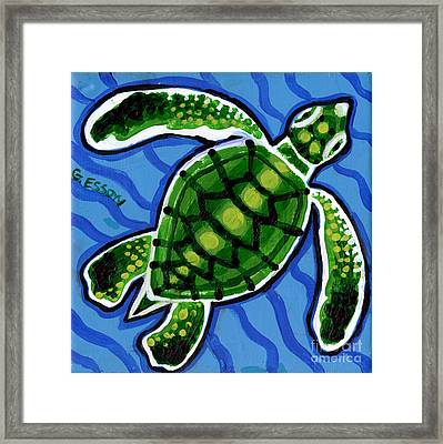 Baby Green Sea Turtle Framed Print by Genevieve Esson