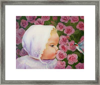 Baby Meets Hummingbird Framed Print by Joni McPherson