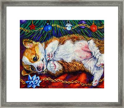 Baby's First Christmas - Pembroke Welsh Corgi Framed Print by Lyn Cook