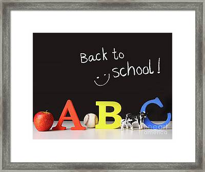 Back To School Concept With Abc Letters Framed Print by Sandra Cunningham
