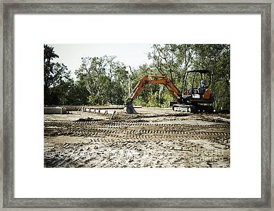 Backhoe On Construction Site Framed Print by Sam Bloomberg-rissman
