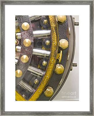 Backside Of A Bank Vault Door Framed Print by Adam Crowley