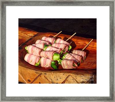Bacon And Pepper Skewers Framed Print by Yali Shi
