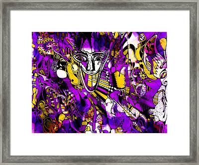 Bad Monday - Ironic Laugh -  Purple-yellow  Framed Print by JL Eichers