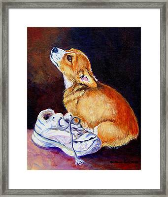 Bad Puppy Pembroke Welsh Corgi Framed Print by Lyn Cook